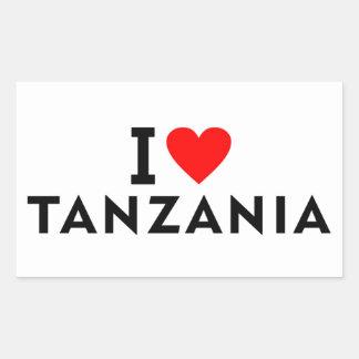 Pegatina Rectangular Amo el país de Tanzania como el turismo del viaje