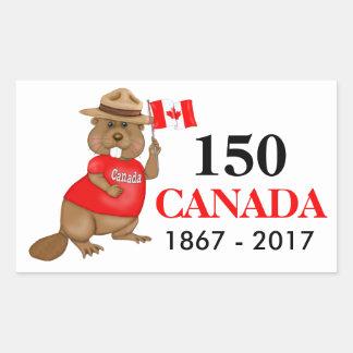 Pegatina Rectangular Aniversario orgulloso canadiense del castor 150