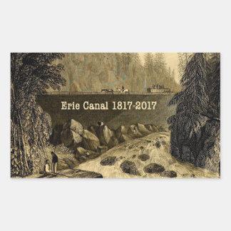 Pegatina Rectangular Años bicentenarios del canal Erie histórico