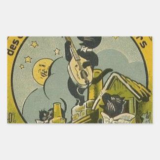 Pegatina Rectangular Anuncio del francés del vintage