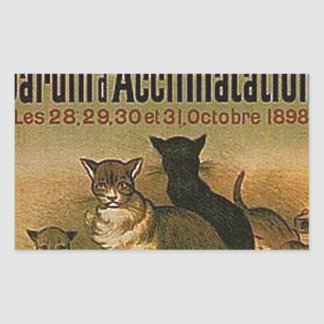 Pegatina Rectangular Anuncio francés del vintage - gatos