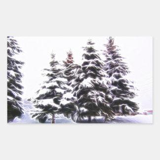 Pegatina Rectangular Árbol de pino 4 con nieve