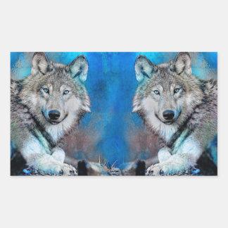 Pegatina Rectangular Arte azul de las técnicas mixtas del lobo