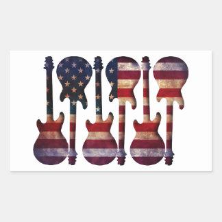 Pegatina Rectangular Arte de la guitarra de la bandera americana