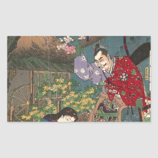 Pegatina Rectangular Arte hermoso japonés del samurai del geisha