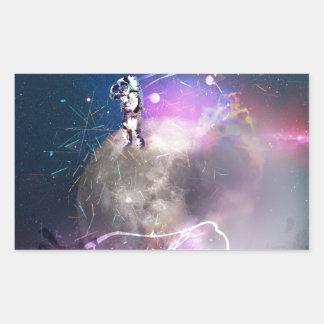 Pegatina Rectangular Astronauta que monta Nova estupendo
