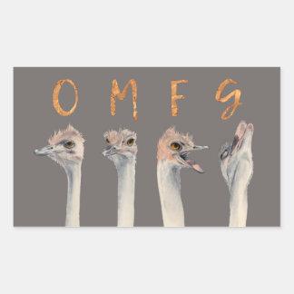 Pegatina Rectangular Avestruces de OMFG