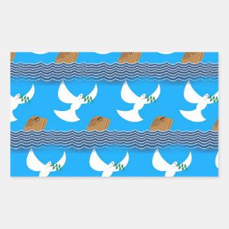 Pegatina Rectangular Azul abstracto de la paloma y de la tierra del