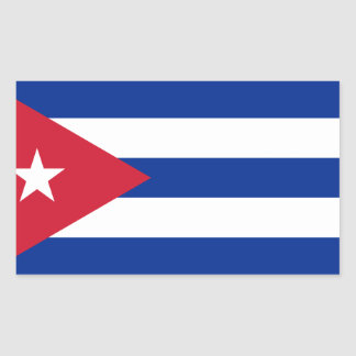 Pegatina Rectangular ¡Bajo costo! Bandera de Cuba