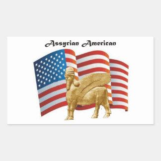 Pegatina Rectangular Bandera coa alas americano asirio de Bull los