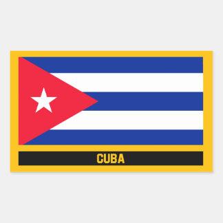 Pegatina Rectangular Bandera de Cuba