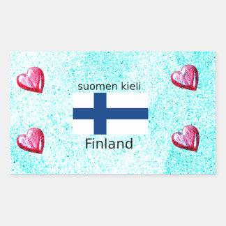 Pegatina Rectangular Bandera de Finlandia y diseño finlandés de la
