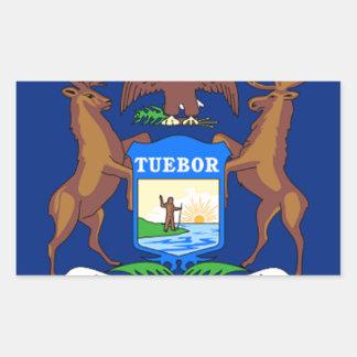 Pegatina Rectangular Bandera de Michigan