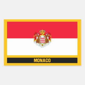 Pegatina Rectangular Bandera de Mónaco