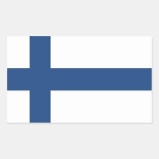 PEGATINA RECTANGULAR BANDERA DE SUOMI FINLANDIA