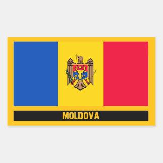 Pegatina Rectangular Bandera del Moldavia