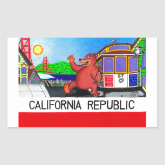 Pegatina Rectangular Bandera del oso de San Francisco California