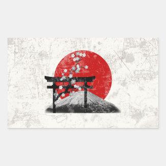 Pegatina Rectangular Bandera y símbolos de Japón ID153