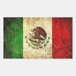 Pegatina Rectangular Banderas de país apenadas el | México