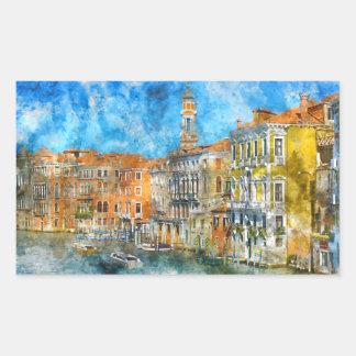 Pegatina Rectangular Barcos en el Gran Canal de Venecia Italia