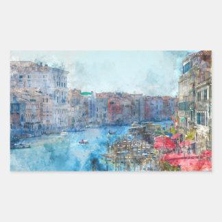 Pegatina Rectangular Barcos en el Gran Canal en Venecia Italia