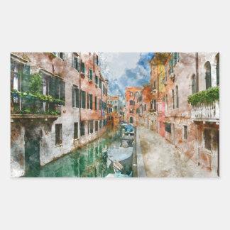 Pegatina Rectangular Barcos en los canales de Venecia Italia