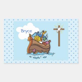 Pegatina Rectangular Bautismo del bebé de la arca de Noah adaptable,