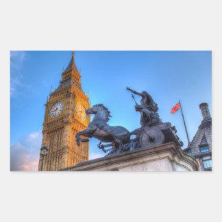 Pegatina Rectangular Big Ben y estatua de Boadicea