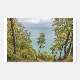 Pegatina Rectangular Bosque costero en la costa de mar Báltico