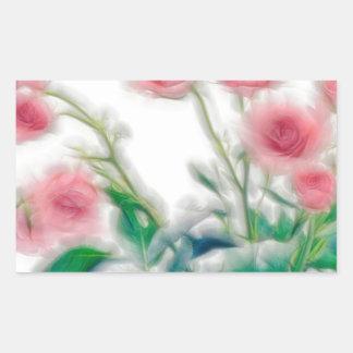 Pegatina Rectangular Bosquejo del ramo color de rosa