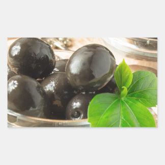 Pegatina Rectangular Brown conservó en vinagre aceitunas en el viejo