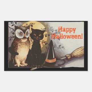 Pegatina Rectangular Búho de Halloween del vintage y gato negro en la