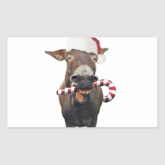 Pegatina Rectangular Burro del navidad - burro de santa - burro santa