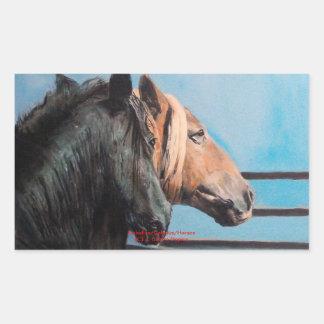 Pegatina Rectangular Caballos/Cabalos/Horses