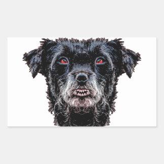 Pegatina Rectangular Cabeza de perro negro del demonio