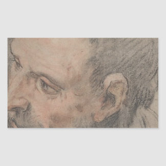Pegatina Rectangular Cabeza de un hombre barbudo que mira a la