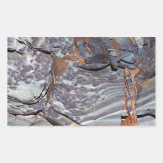Pegatina Rectangular Capas naturales de ágata en una piedra arenisca