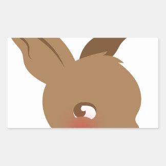 Pegatina Rectangular cara marrón del conejo del bebé