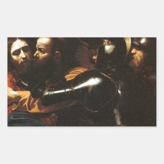 Pegatina Rectangular Caravaggio - el tomar de Cristo - ilustraciones