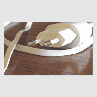Pegatina Rectangular Cargador blanco del smartphone en la tabla de