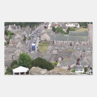 Pegatina Rectangular Castillo de Corfe, Dorset, Inglaterra