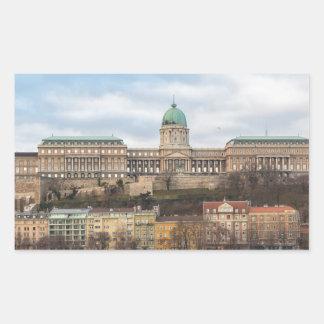 Pegatina Rectangular Castillo Hungría Budapest de Buda en el día