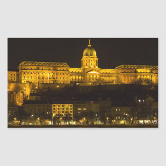 Pegatina Rectangular Castillo Hungría Budapest de Buda en la noche