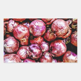 Pegatina Rectangular Cebolla roja