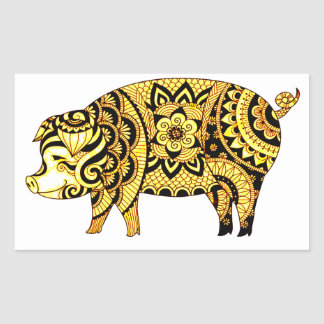 Pegatina Rectangular Cerdo