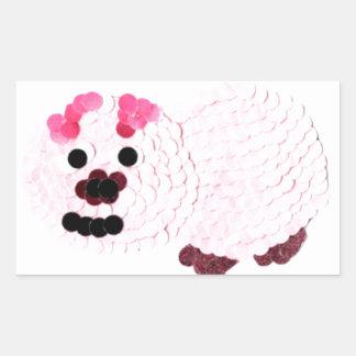 Pegatina Rectangular Cerdo rosado