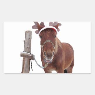 Pegatina Rectangular Ciervos del caballo - caballo del navidad -