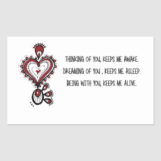 Pegatina Rectangular Citas del amor del el día de San Valentín