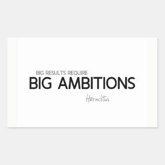 Pegatina Rectangular CITAS: Heraclitus: Ambiciones grandes