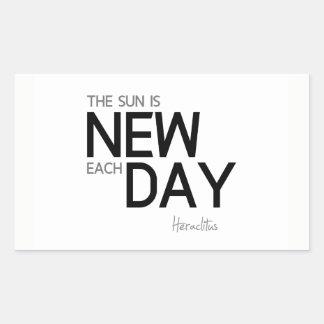 Pegatina Rectangular CITAS: Heraclitus: El sol es nuevo cada día